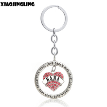 XIAOJINGLING Nana Pendant Pink Clear Rhinestone Keychain Trust Dream Love Exquisite Car Ornaments Handbag Charms Key Ring Chain(China)