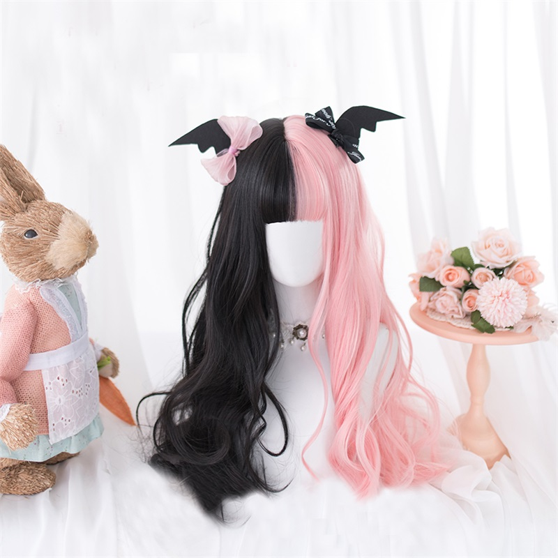 Cosplaysalon Party Wig Free-Cap Ombre-Bangs Wavy Heat-Resistant Lolita Pink Black Long title=