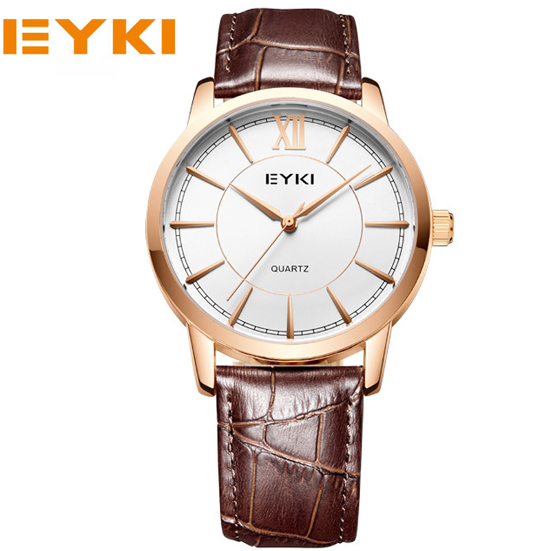 EYKI Lovers Watch Top Fashion Brand Female Clock Gold Case Genuine Leather Strap Waterproof Wristwatches Hot Sale<br><br>Aliexpress
