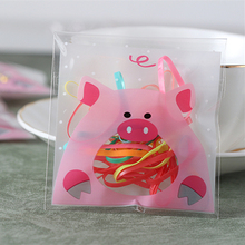 100pcs 10x10+3cm Pink Pig Bakery Cookie Candy Sweet Biscuit Gift Soap Favor Cello Self-Adhesive Plastic Bag Baby Shower Deco(China)