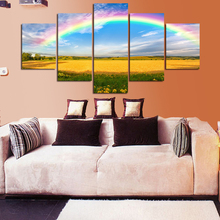 5 board sky rainbow flower field painting canvas print art household wall of the sitting room adornment decoracion cuadros mural