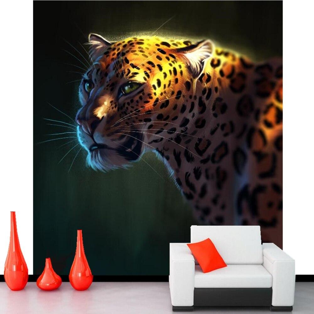 Papel de parede Big cat Leopards Art Head Animals photo wallpaper ,living room tv wall sofa wall bedroom restaurant bar 3d mural<br>