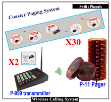 Queue Coaster Paging System 2pcs keypad 30pcs Wireless Personal Guest Coaster Pager for fast Food Restaurant