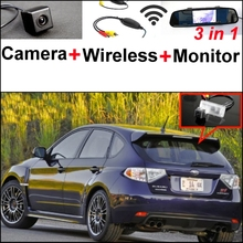 3 in1 Special Rear View Camera + Wireless Receiver + Mirror Monitor DIY Back Up Parking System For Subaru XV Impreza GJ GP