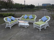 6-pcs good quality round PE rattan furniture aluminum frame set leisure sofa for outdoor white color