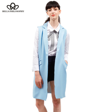 2017 spring new fashion long pockets turn-down collar open stitch sleeveless pantone blue pink beige black blazer vest jackets(China)