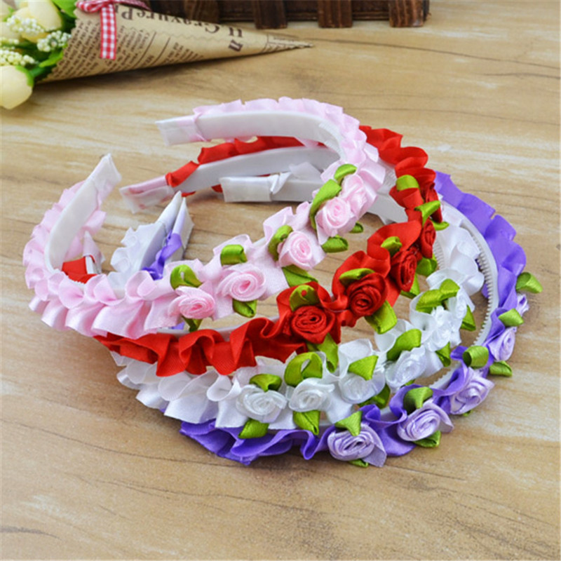 Colorful Kids Ribbon Rose Flower Headbands Baby Garland Hair Band Hair Accessories Prom Head Wrap Girls Hairband for gift<br><br>Aliexpress