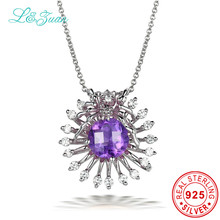 l&zuan AAA Purple Amethyst 925 Sterling Silver Choker Necklaces&Pendants for Woman Flower Colar Gargantilha Diamond Fine Jewelry(China)