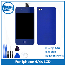 Dark blue Color LCD Display&Touch Screen Digitizer&Home Button&Back Cover Mix Color For iPhone 4/4S with tools