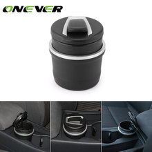 Onever Car Cigarette Ashtray for Cup Holder Smokeless with Blue LED Light and Cover Ashtray Built-in battery Cigarette Ashtray(China)