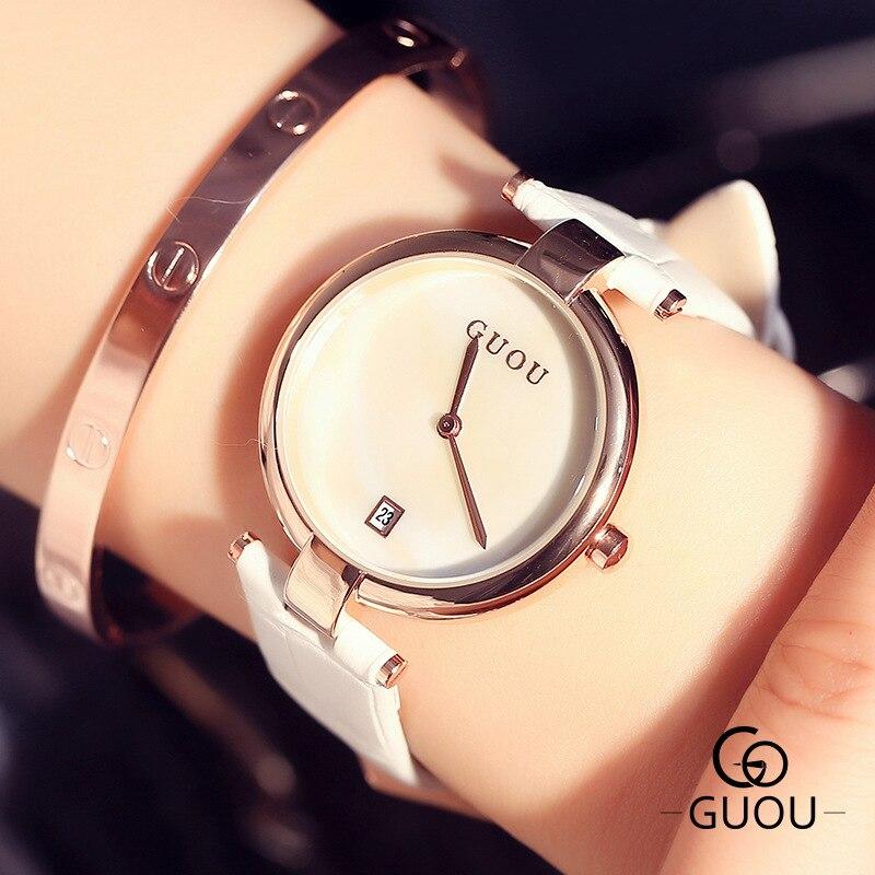 GUOU Classic Fashion Simple Style Ulta Thin Top Famous Luxury Brand Calendar Quartz Watch Wristwatch Women Leather Watches OP001<br><br>Aliexpress