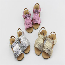 New hot sell summer gold tassel genuine leather shoes toddler baby girls sandals high quality baby moccasins shoes hard sole