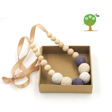 Fade Grey cream white crochet teething necklace,wood beads baby toy baby teether necklace NW1706