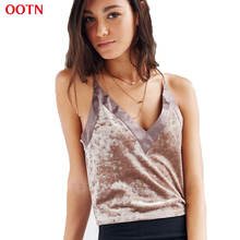 OOTN BX025 Cotton Velvet Tops Women Patchwork Summer Camis Sexy Halter Top Strap Brown Black 2017 Fashion High Quality Crop Tops