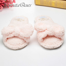 Flock Bow Slippers Home Spring Summer Sides Indoor Breathable House Women Shoes Asspfct050 Pasoataques Brand(China)