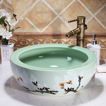 Round Jingdezhen ceramic sanitary ware art counter basin wash basin lavabo sink Bathroom sink sink hand painted(China)