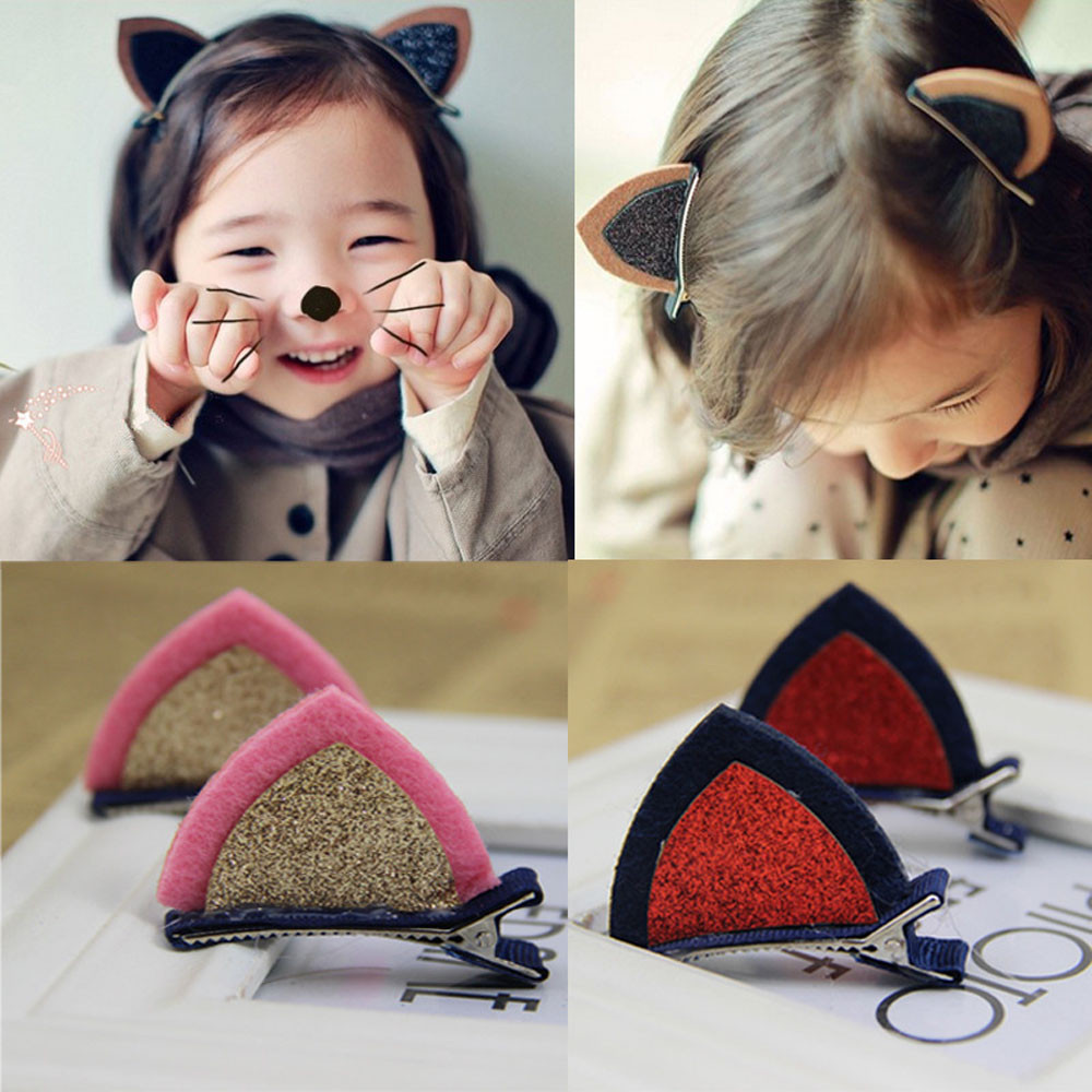 1 Pair Lovely Cat Ears Hairpin Children Hair Ornaments Hair Accessories