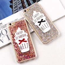 "Phone Case For iPhone 6 6S 4.7"" 6 Plus 6S Plus 5.5"" Soft TPU Summer ice Cream Phone Back Cover Shining Glitter Paillette Sequin"