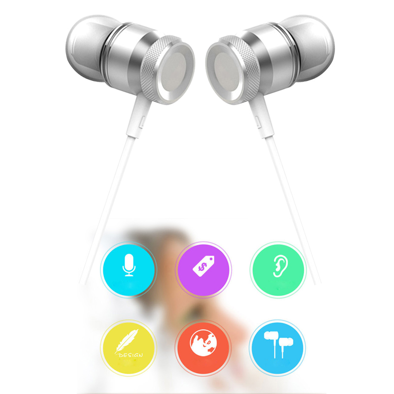 Stereo Metal Earphone Strong Bass Sport Music Headset Hands Free Headphone 3.5mm Jack with Mic for All phone MP3 MP4