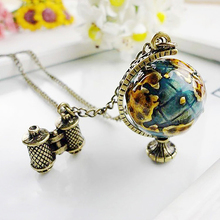 Women's Vintage Globe Planet Earth World Map Ball Binocle Pendant Long Necklace(China)