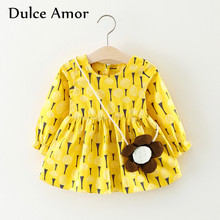 Dulce Amor Baby Girls Dress Infant Clothes Autumn Toddler Long Sleeve Print Tree Sunflower Casual Princess Dress With Bag