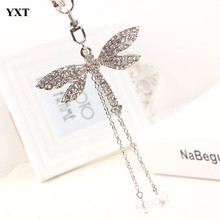 Dragonfly Angel Wing Bead Silver Lovely Pendent Rhinestone Crystal Purse Bag Car Key Ring Chain Best Jewelry Gift For Girl
