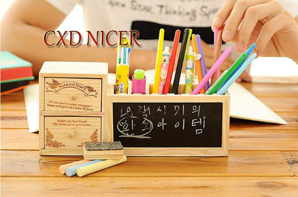 Fashion Tower Beard Desktop Hollow Wooden Pen Holder Office Stationary Supplies Accessories Double Drawer Pencil Holder Dd252 4