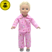 American Girl Dolls Cute Kitty Pink Pajamas Doll Accessories Madame Alexander Doll Clothes Fit 18 inch Clothes MG-254(China)