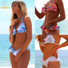 Buy 2019 Sexy Bikini Ruffle Swimwear Women Halter Push Bikini Set Print Swimsuit Brazilian Bathing Suits Beach Wear Swimming Suit