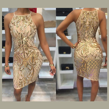 Womens Sexy Mock Neck Paillette Geometric Sequin Sheath Party Dress Spring Glitter Sling Mini Dress Real Pictures Bodycon Vestid