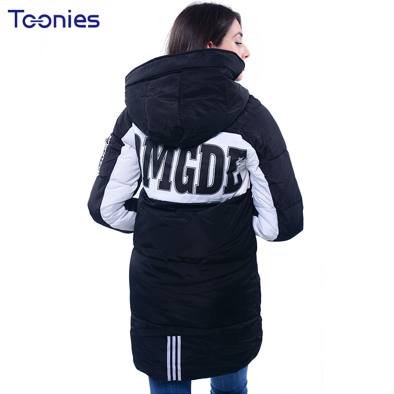 2017 New Female Winter Cotton Hooded Parkas Womens Clothing Long Type Bread Coats Loose Letter Print Coat Oversized OvercoatÎäåæäà è àêñåññóàðû<br><br>