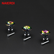 10PCS NAIERDI 30mm Diamond Shape Colorful Crystal Glass Knobs Cupboard Drawer Pull Door Kitchen Cabinet Wardrobe Handle Hardware(China)