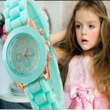 New Mini Geneva Kids Watch Girls Women Golden wristwatch Rubber gold casual dress watch Kids Fashion Children Dropshipping(China)
