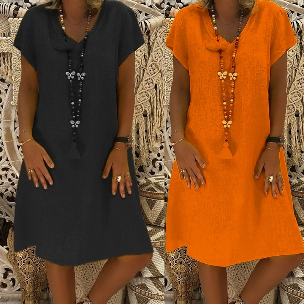 women's dresses large sizes Cotton and Linen summer casual beach V-Neck Feminino Vestido Casual Plus Size Ladies Dress L0326