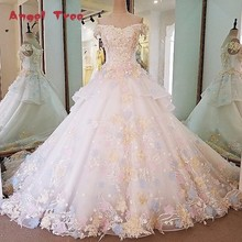 Buy Angel Tree Gorgeous ivory bridal gown 3D flowers short sleeves ball gown lace wedding dress vestidos de noivas real photos for $454.39 in AliExpress store