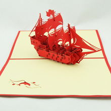 Three new year greeting card 3D creative paper-cut paper boat Everything is going smoothly. greeting card business custom