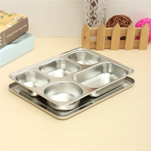 Eco Lunchbox Stainless Steel Divided Lunch Food Serving Bento Box Tray & Cover Restaurant Canteen Tableware