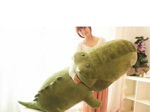 big plush army green crocodile toy stuffed cartoon Chinese alligator pillow birthday gift about 120cm(China (Mainland))