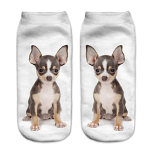 2017 New Design 3D Printed Sokken Unisex Low Cut Ankle Socks Animal Puppy Funny Cute Casual 3d Socks for Young People Girl
