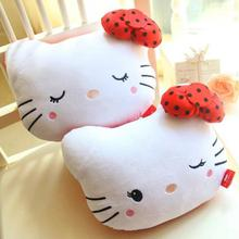 Cute Cartoon Hello Kitty Cat Plsuh Toy Lovely Car Headrest Neck Pillow With Bamboo Charcoal Stuffed Animals Doll Girls Gift 24cm(China)