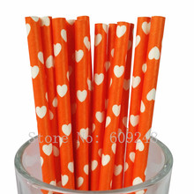 100pcs Orange Heart Paper Straws,Bulk Custom Decorative Valentines Party Drinking Paper Straws Cake Pop Sticks Mason Jar Straws