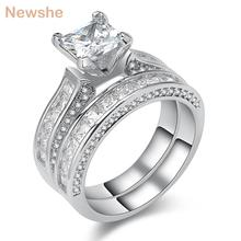 Newshe 3 Ct Princess Cut AAA CZ Genuine 925 Sterling Silver Wedding Ring Set Engagemnet Band Fashion Jewelry For Women(China)