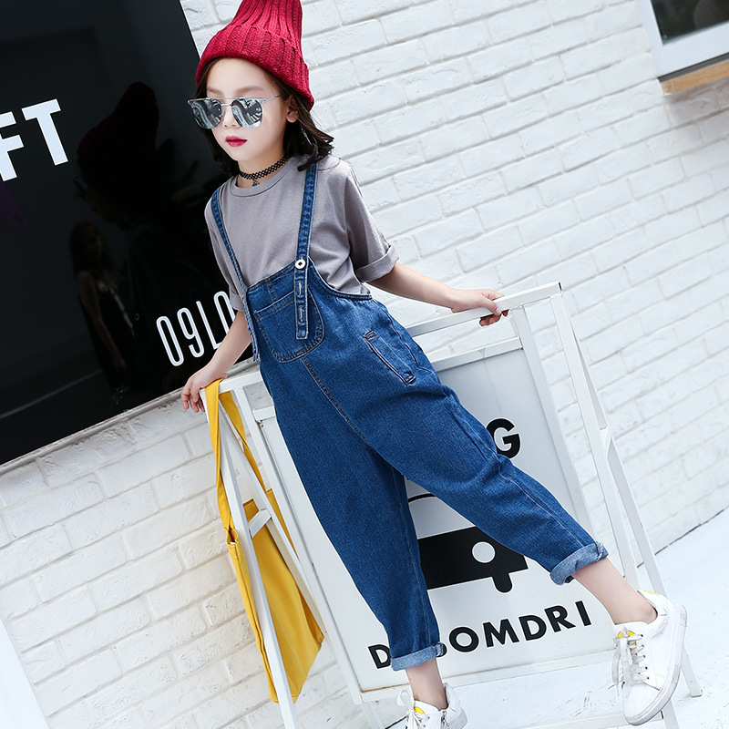 Children Clothes Set For Girls Teenagers 4 5 6 7 8 9 10 11 12 13 Years Autumn Soild Shirt + Denim Overalls Kids Teens Clothing<br>