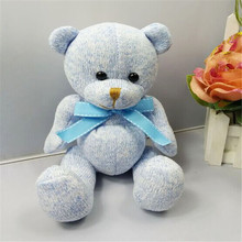 The new arrival stuffed teddy bear doll Sit plush dolls bears sitting tall 18cm made by hand for kids toys hotel gift(China)