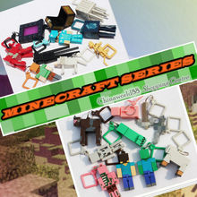 HOT. 20 pcs/lot Minecraft keychain   Series1 and Series 2 Figure Toys Models MC Backpack creeper Keychain Brinquedos Gift