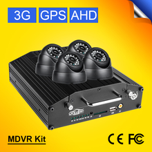 4PCS Indoor Dom Infrared Car Cameras+Linux System AHD 720P 4CH Mobile Dvr Recorder With 3G GPS Real Time Online CCTV Mdvr Kits