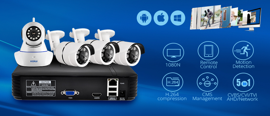 930x400 1080P NVR Full HD 4 Channel Security CCTV NVR ONVIF IP Camera System with Waterproof IP Camera