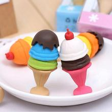 1pcs/lot Valentine's Day Gifts/french Dessert Ice Cream Circle Bread Malone Eraser/removable Rubber Polishing/erasers Free Ship