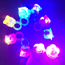 2017 Led Clothes Woman Girl Boy Man Led Flashing Light Rose Rings Jelly Finger Birthday Wedding Halloween Glow Party Supply(China)