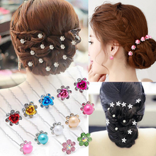 6Pcs/set Trendy Hair Pins Wedding Hair Accessories Crystal Rhinestones Hiar Clips For Women Bridal Tiaras And Crown Decoration